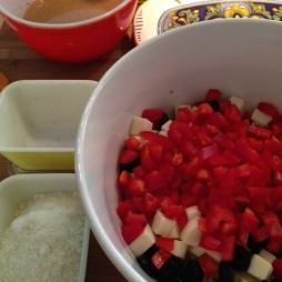 In your largest Pasta Bowl mix the red pepper , olives & mozzarella.