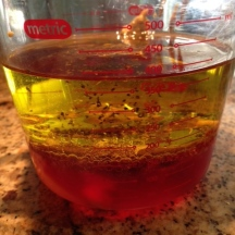 1/2 cup red wine vinegar, 1 cup olive oil, 2 tablespoon dijon mustard, 1/2 tsp black pepper, 1/2 tsp of sugar.