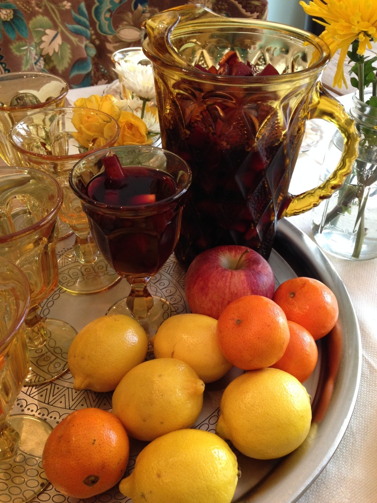 Serve with pretty glasses!  You can serve extra Peach Brandy on the side for those who prefer to punch it up a bit:) ....Gingerale or lemon lime seltzer for the guests who prefer to take it down a notch! Make it a Happy Thanksgiving!