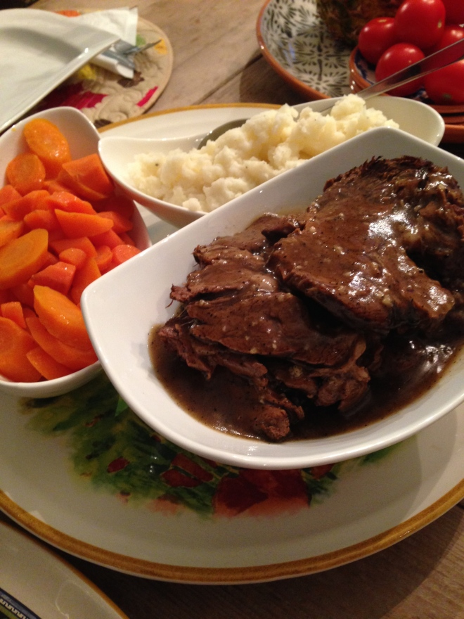 The trick to this delicious pot roast is letting the meat sit in the thickened gravy. You can even prepare this ahead, and reheat just before dinner. By layering the meat in with the gravy you will have a super tender pot roast.