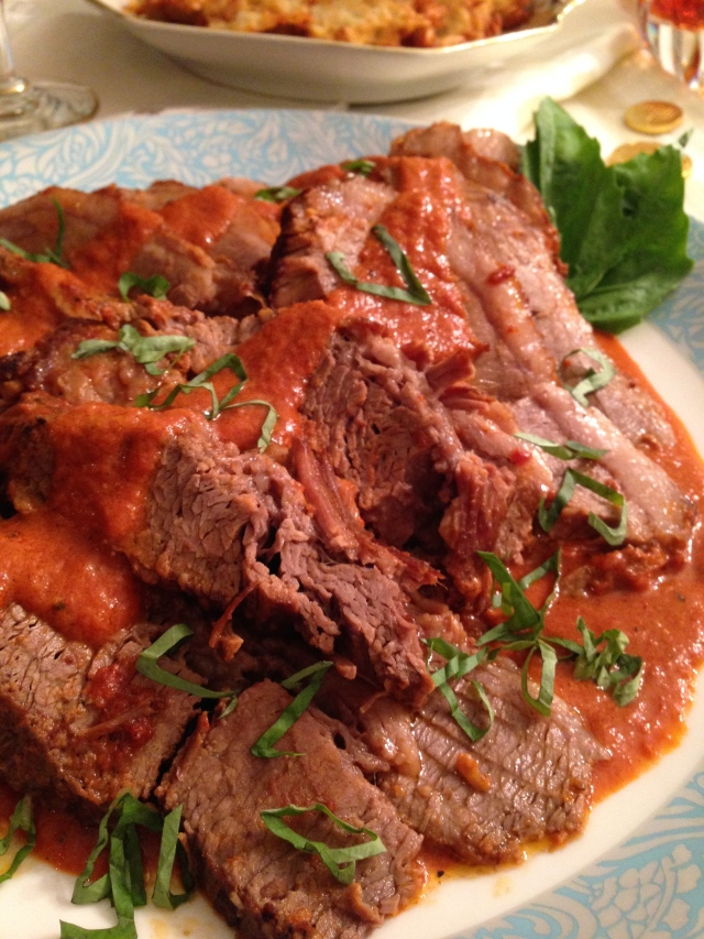 This Sweet Tomato Braised Brisket took about three hours at 350 degrees. This size Brisket should feed about 6-7 people.